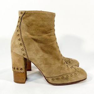 CHLOE Oxford Square Toe Zipper Block Heel Boots